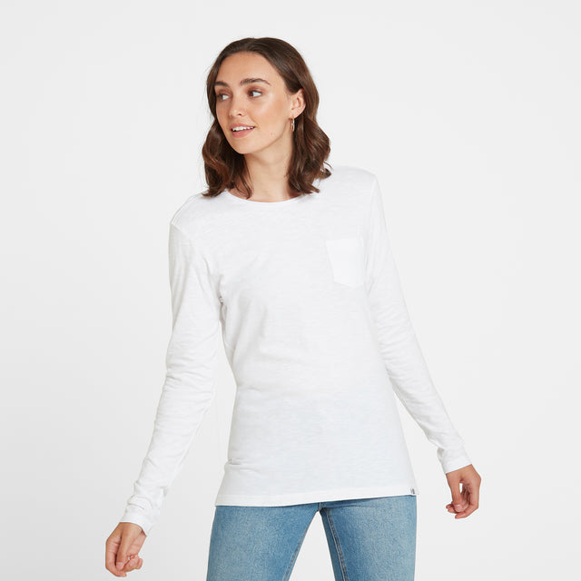 Myrtle Womens Long Sleeve Pocket T-Shirt - White image 1