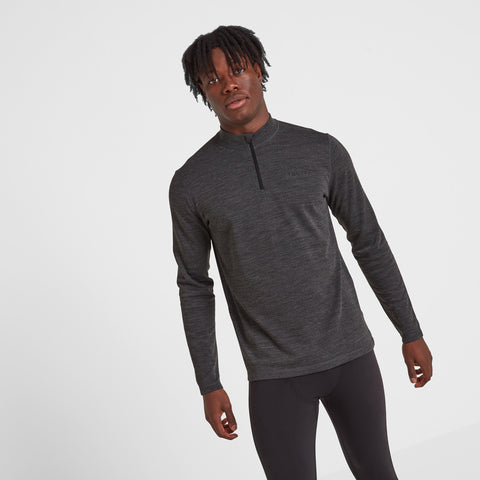 Nevis Mens Merino Zip Neck - Grey Marl