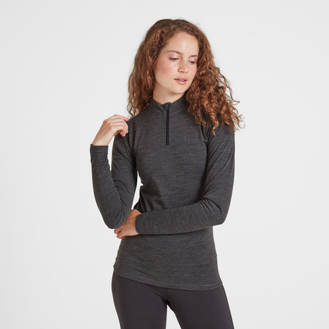 Nevis Womens Merino Zip Neck - Grey Marl