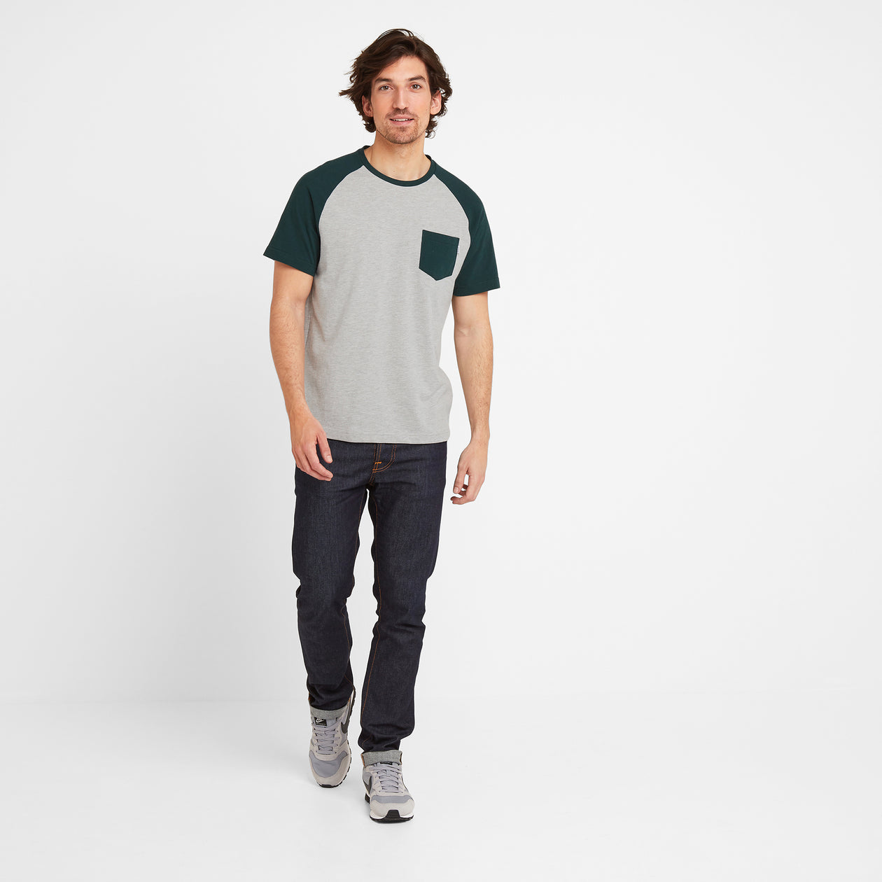 Norcliffe Mens Raglan T-Shirt - Forest/Light Grey Marl image 4