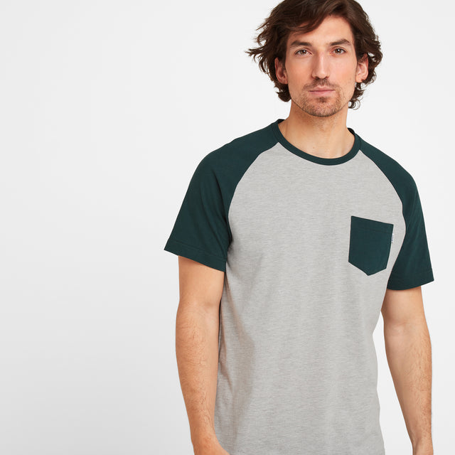 Norcliffe Mens Raglan T-Shirt - Forest/Light Grey Marl image 1