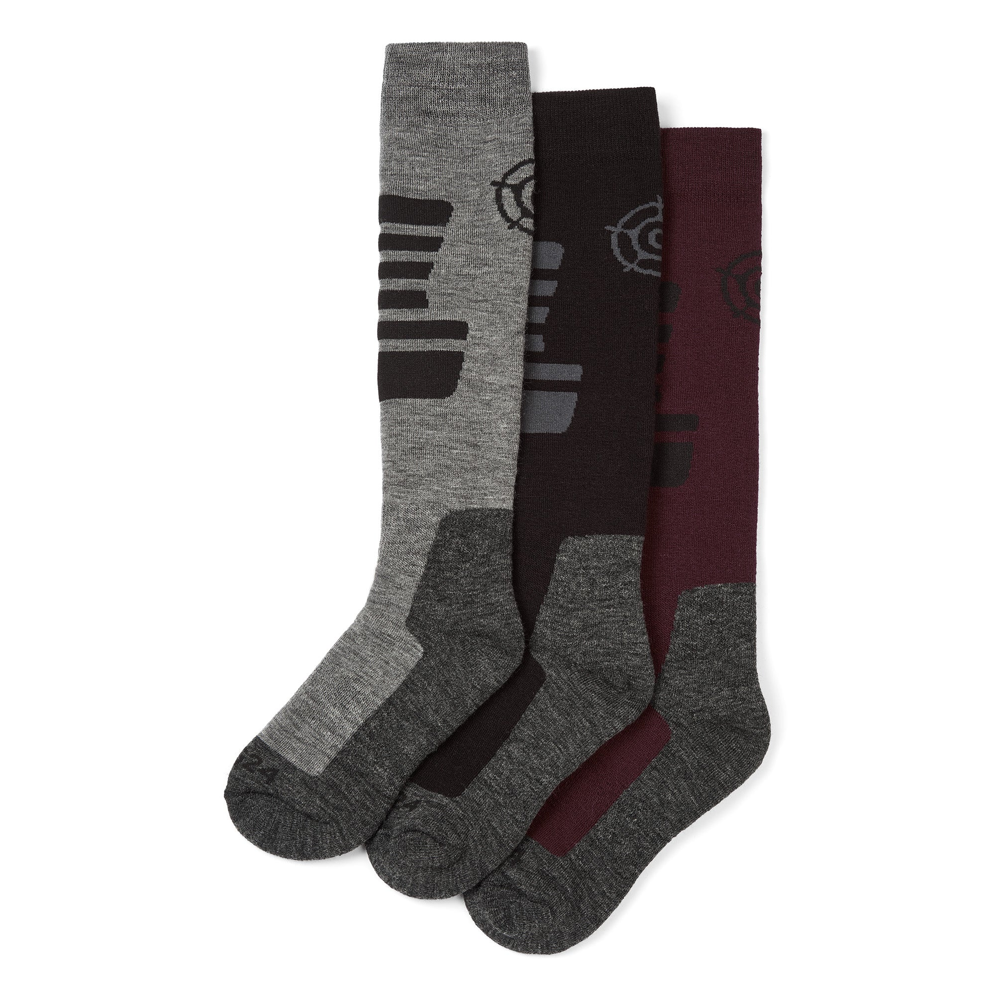 Oberau Womens 3 Pack Merino Ski Socks - Deep Port/Black/Grey Marl