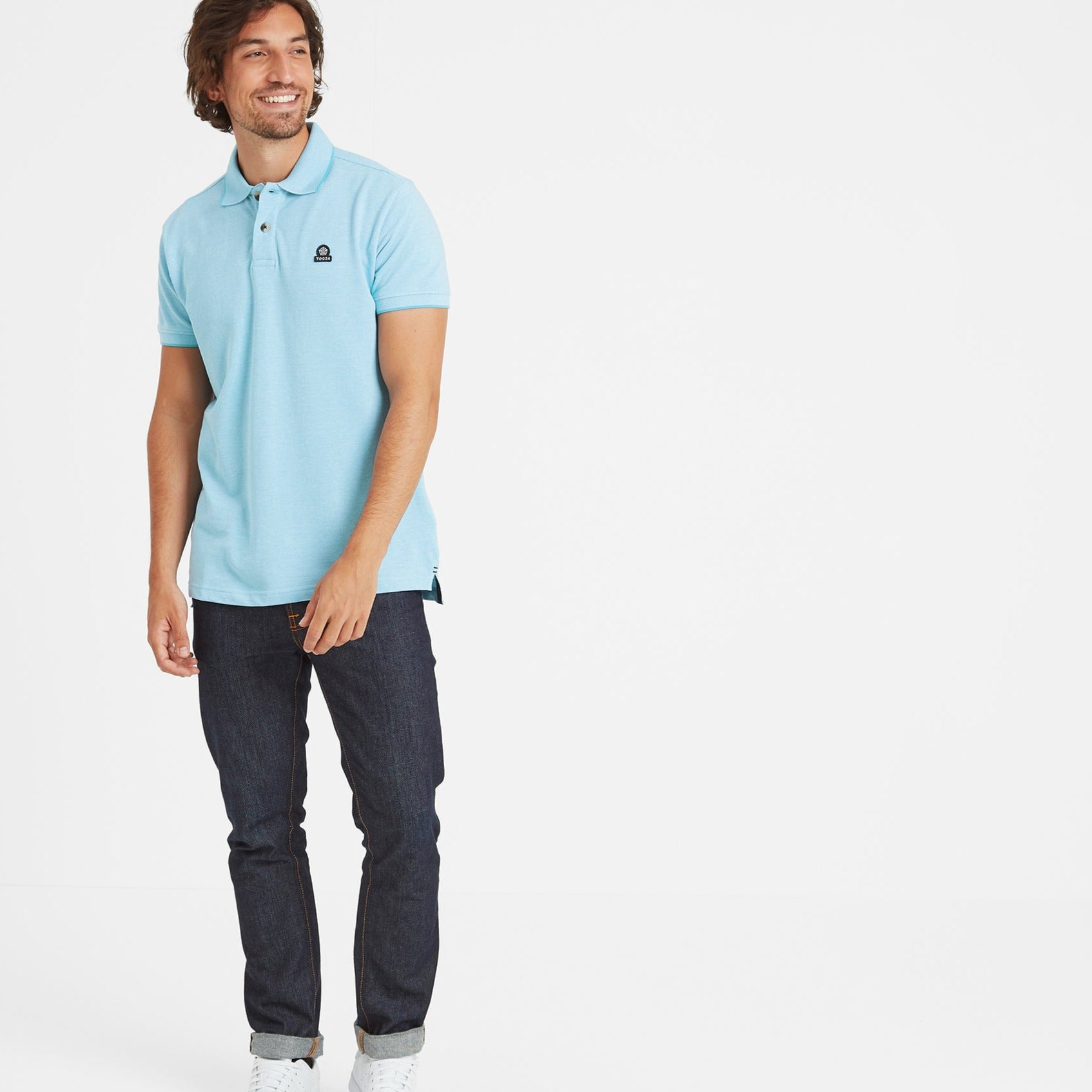 Patrick Mens Stripe Polo Shirt - Light Blue