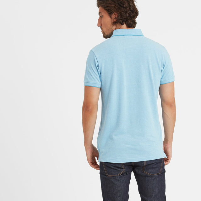 Patrick Mens Stripe Polo Shirt - Light Blue image 3