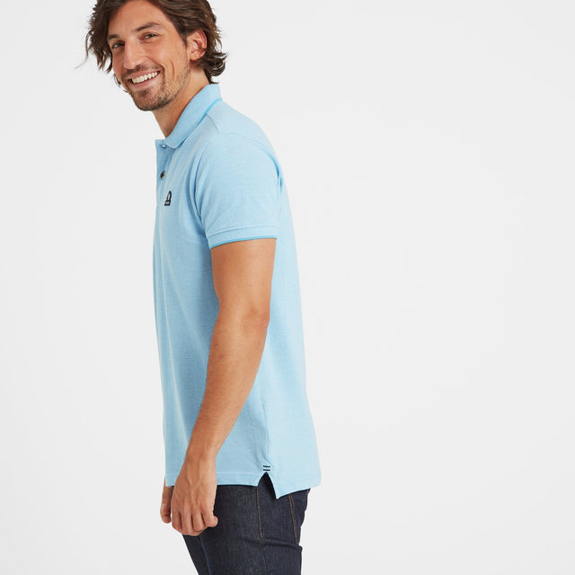 Patrick Mens Stripe Polo Shirt - Light Blue image 1