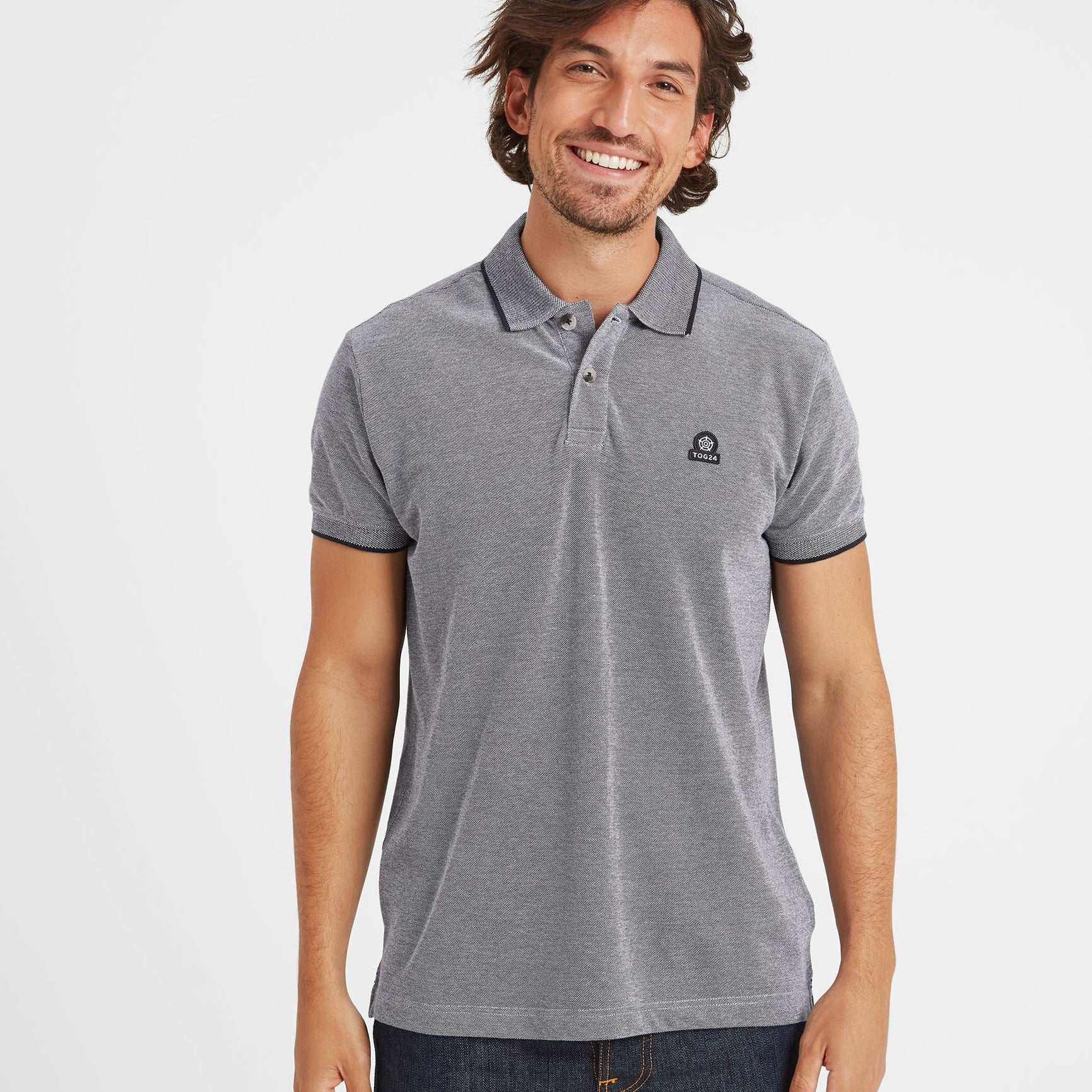 Patrick Mens Stripe Polo Shirt - Navy