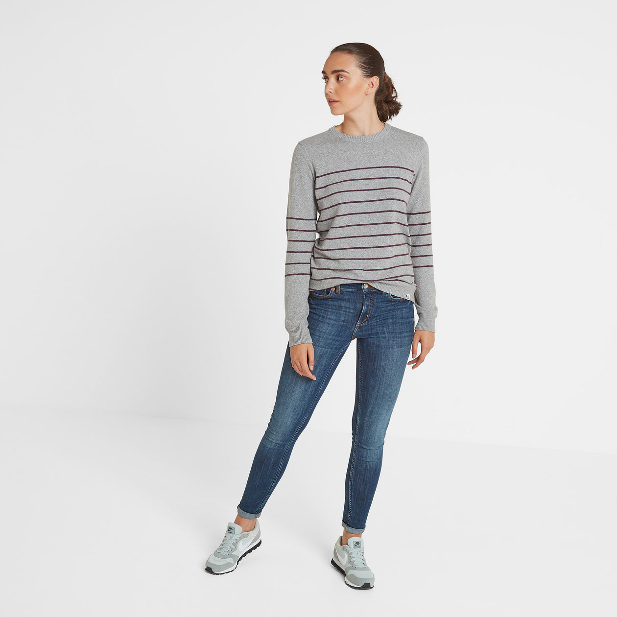 Patsy Womens Striped Jumper - Light Grey/Aubergine image 4