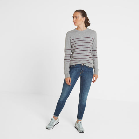 Patsy Womens Striped Jumper - Light Grey/Aubergine