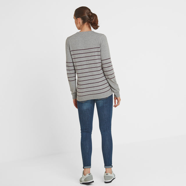 Patsy Womens Striped Jumper - Light Grey/Aubergine image 2