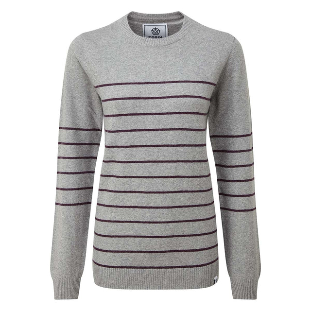 Patsy Womens Striped Jumper - Light Grey/Aubergine image 3