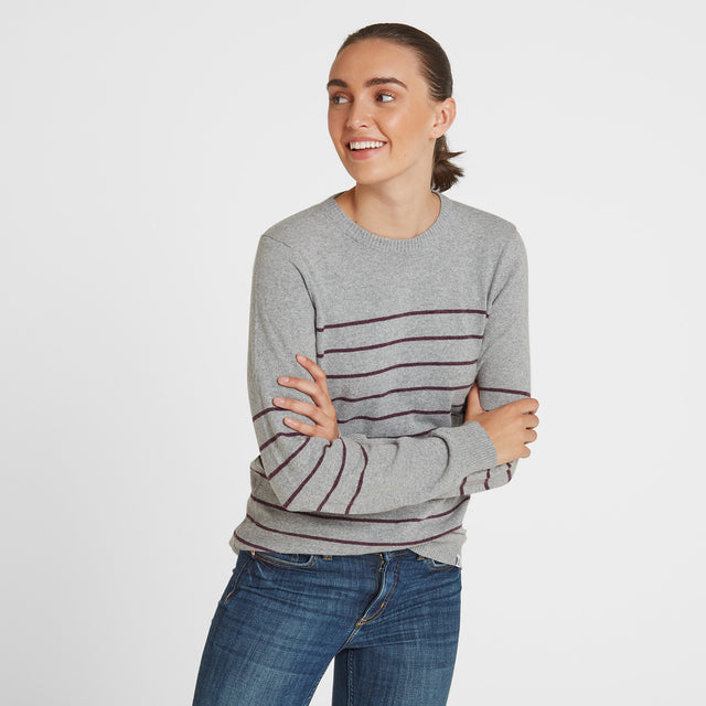 Patsy Womens Striped Jumper - Light Grey/Aubergine image 1