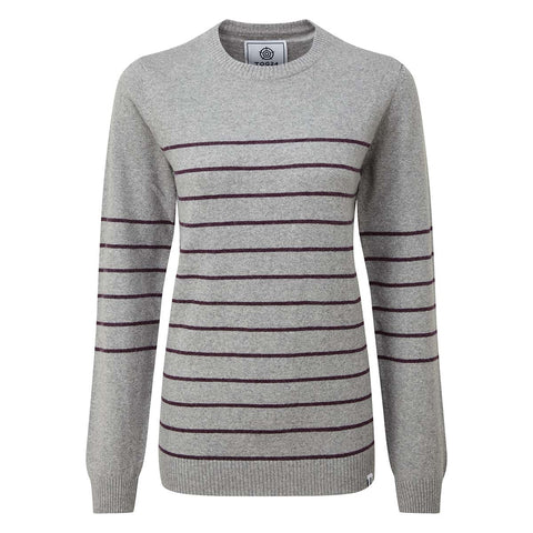 Patsy Womens Stripe - Light Grey/Aubergine