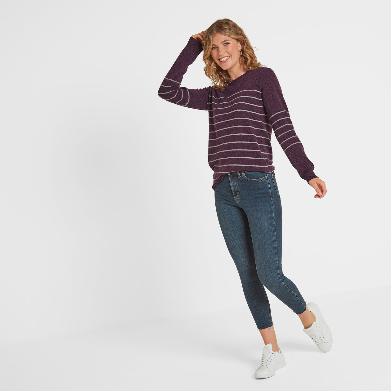 Patsy Womens Striped Jumper - Aubergine/Light Grey Marl image 4