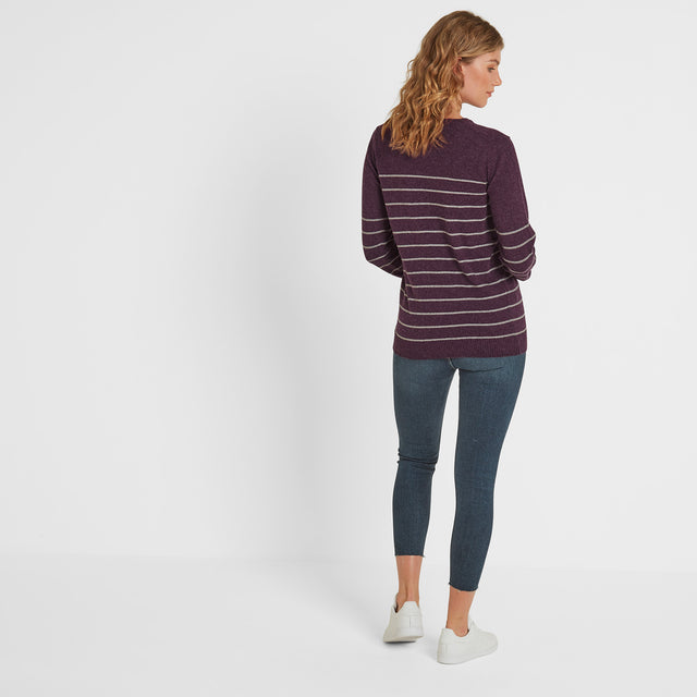 Patsy Womens Striped Jumper - Aubergine/Light Grey Marl image 2