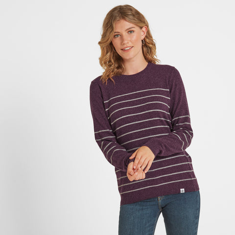 Patsy Womens Striped Jumper - Aubergine/Light Grey Marl