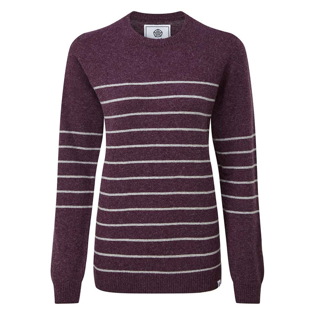 Patsy Womens Striped Jumper - Aubergine/Light Grey Marl image 3