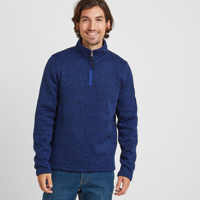 Pearson Mens Knitlook Fleece Zipneck - Royal Blue image 1