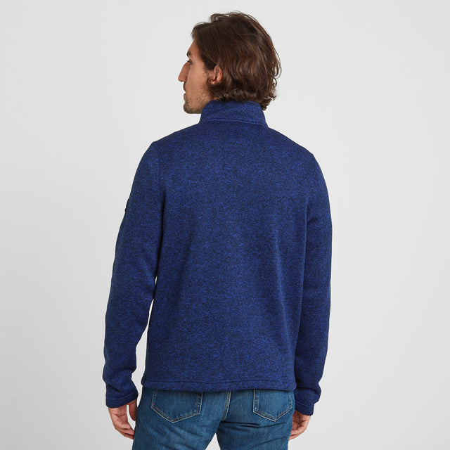 Pearson Mens Knitlook Fleece Zipneck - Royal Blue image 2