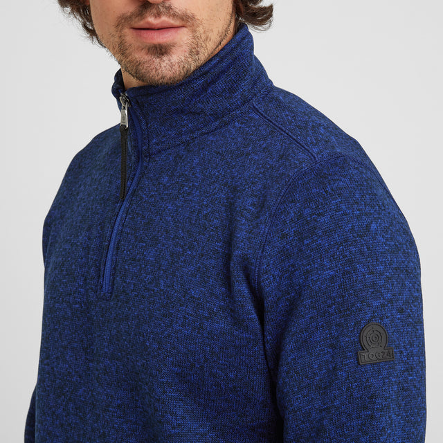 Pearson Mens Knitlook Fleece Zipneck - Royal Blue image 5