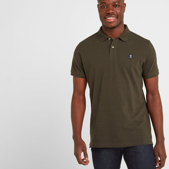 Percy Mens Pique Polo Shirt - Dark Khaki image 1