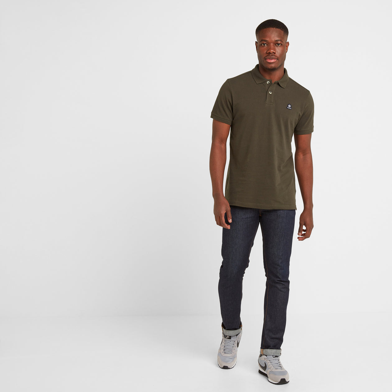 Percy Mens Pique Polo Shirt - Dark Khaki image 4