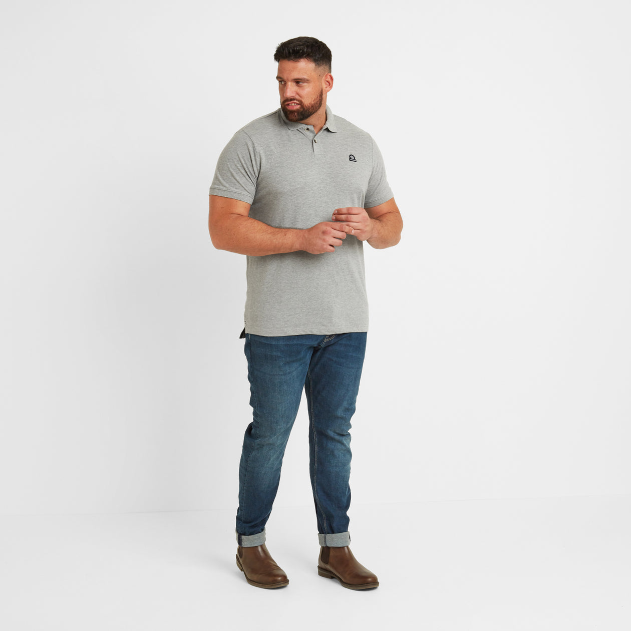 Percy Mens Pique Polo Shirt - Grey Marl image 8