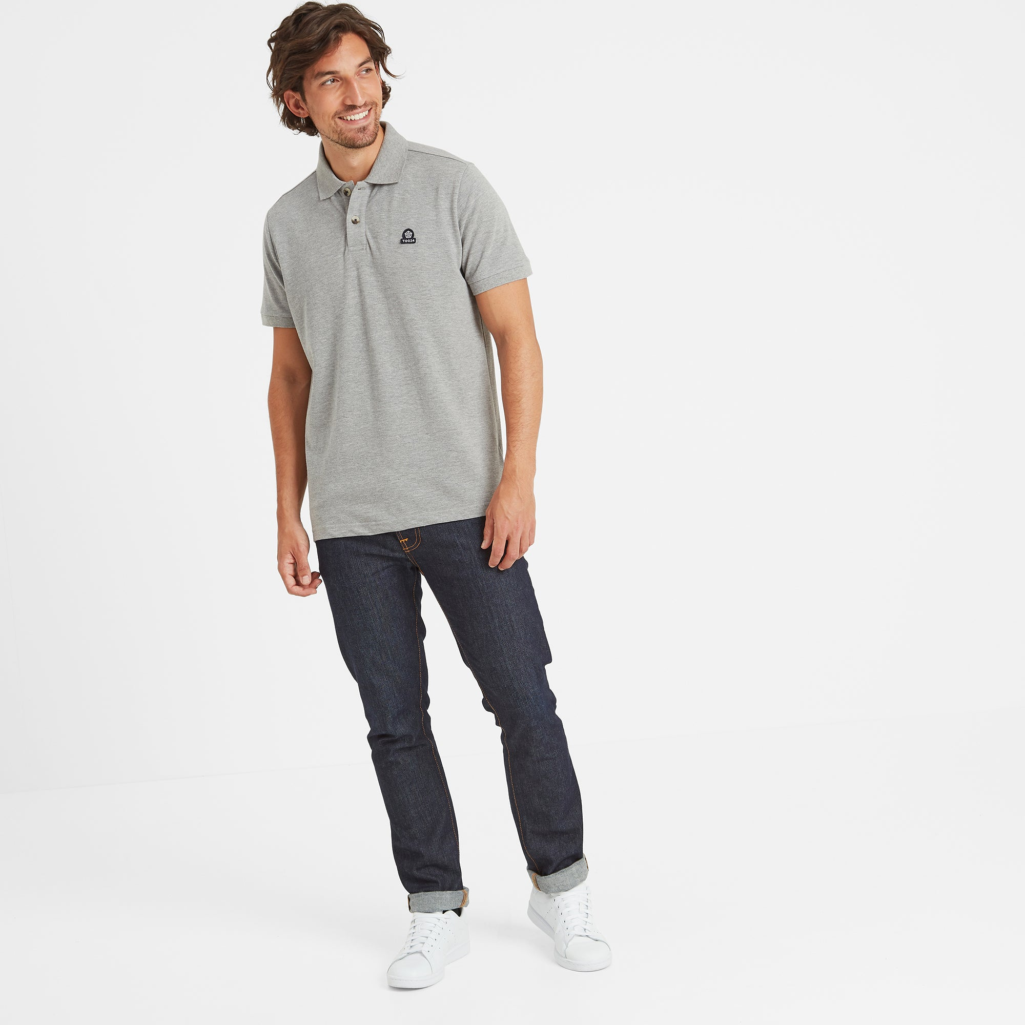 Percy Mens Pique Polo Shirt - Grey Marl