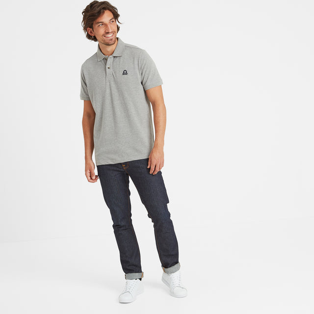 Percy Mens Pique Polo Shirt - Grey Marl image 2