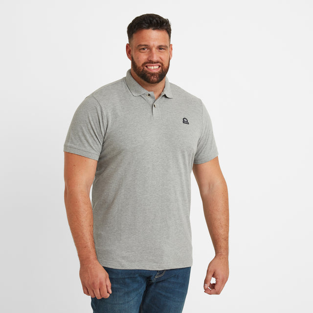 Percy Mens Pique Polo Shirt - Grey Marl image 5