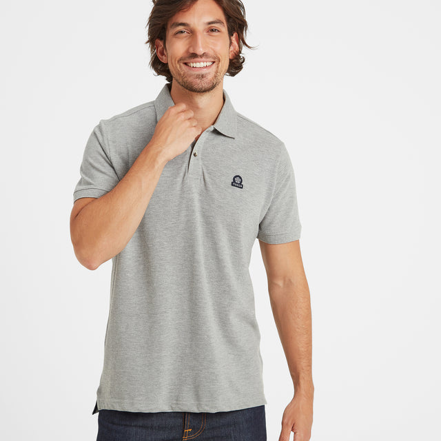 Percy Mens Pique Polo Shirt - Grey Marl image 1