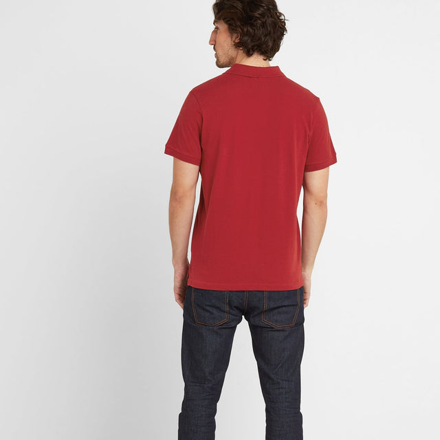 Percy Mens Pique Polo Shirt - Chilli Red image 2