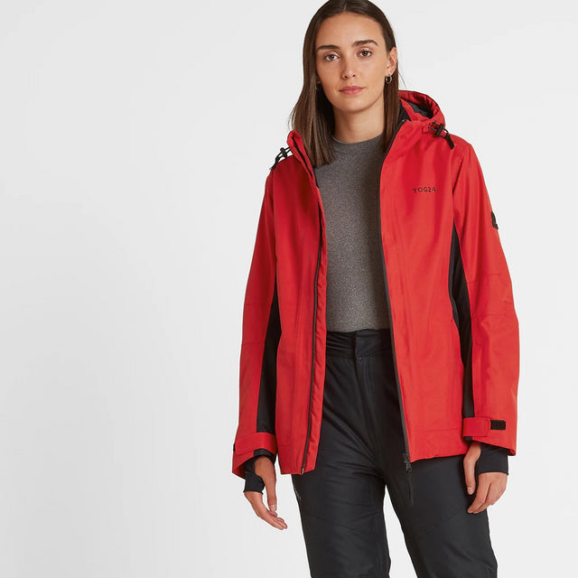 Piper Womens Waterproof Insulated Ski Jacket - Rouge Red/Black image 2