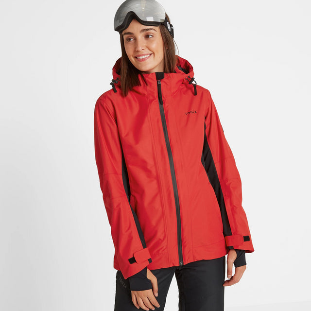 Piper Womens Waterproof Insulated Ski Jacket - Rouge Red/Black image 3