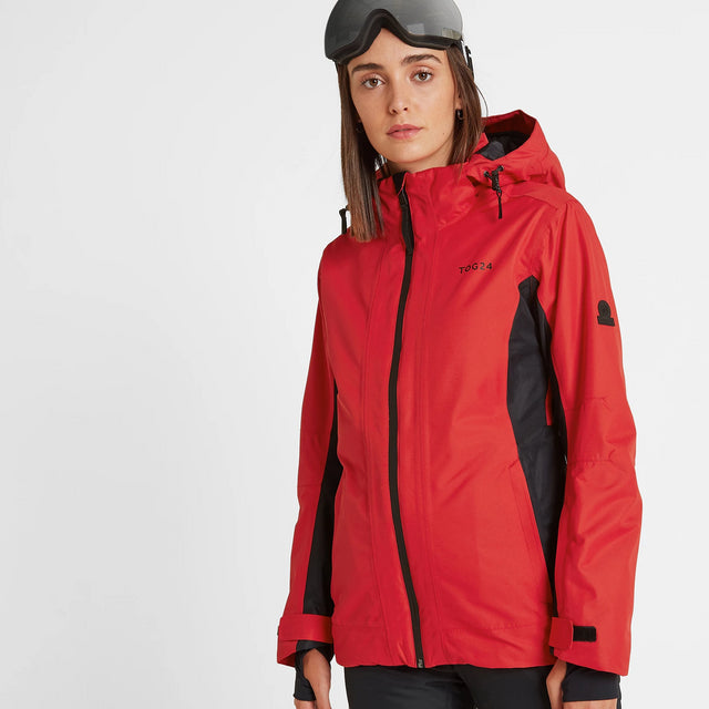 Piper Womens Waterproof Insulated Ski Jacket - Rouge Red/Black image 1