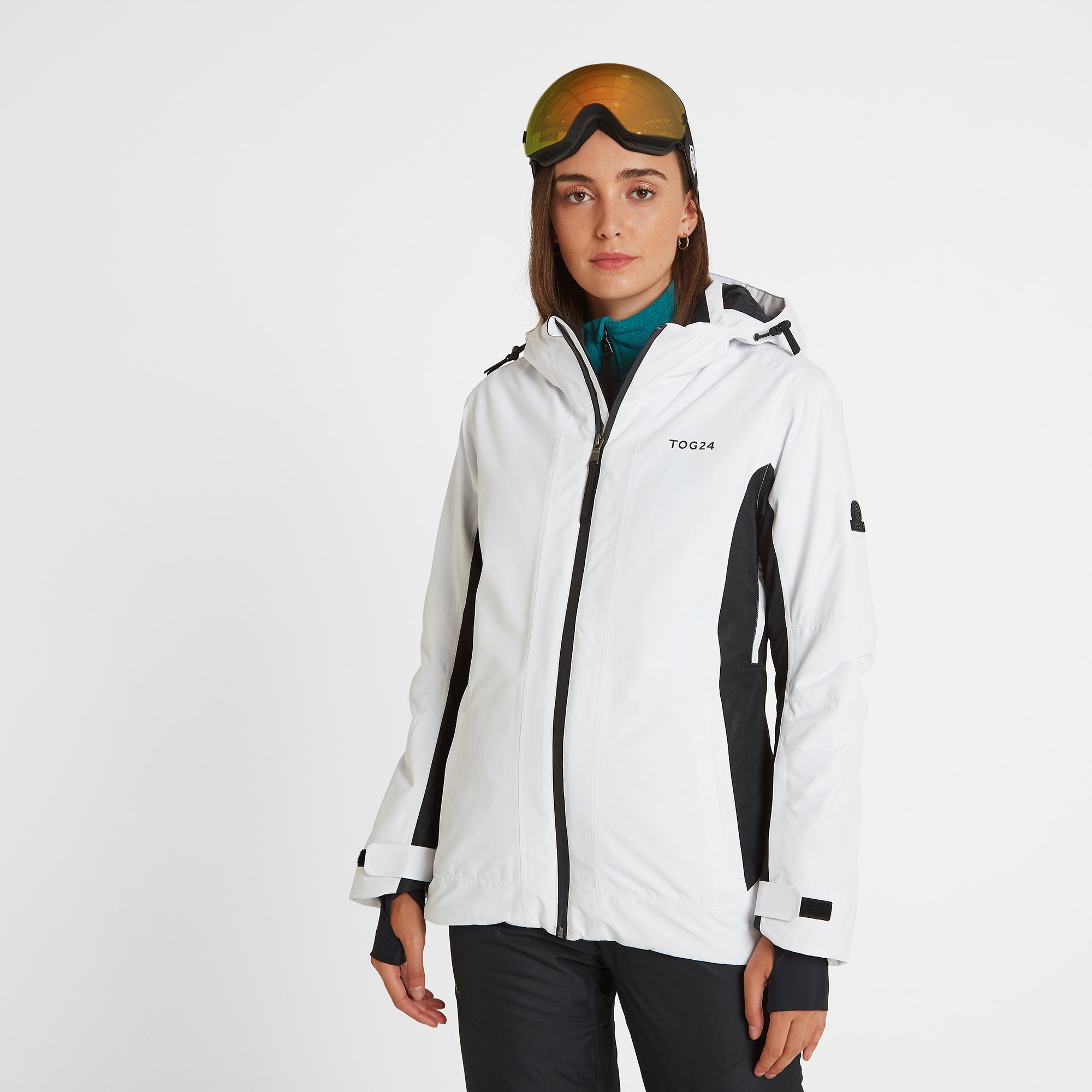 Piper Womens Waterproof Insulated Ski Jacket - White/Black