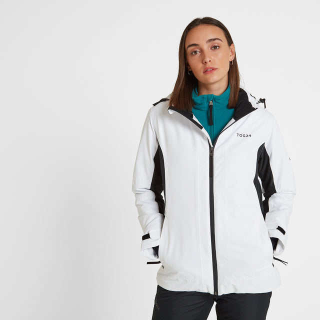 Piper Womens Waterproof Insulated Ski Jacket - White/Black image 2