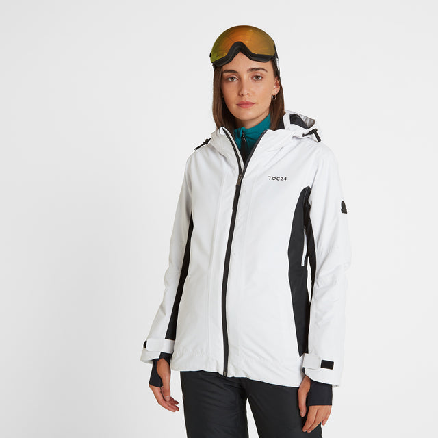 Piper Womens Waterproof Insulated Ski Jacket - White/Black image 1