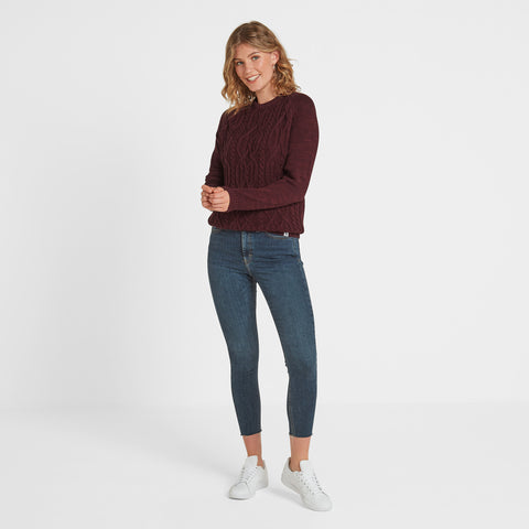 Polly Womens Cable Knit Jumper - Deep Port Marl