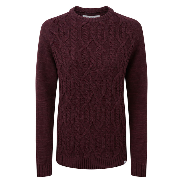 Polly Womens Cable Knit Jumper - Deep Port Marl image 3