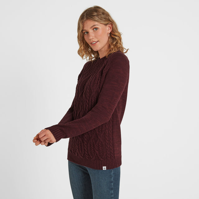 Polly Womens Cable Knit Jumper - Deep Port Marl image 1