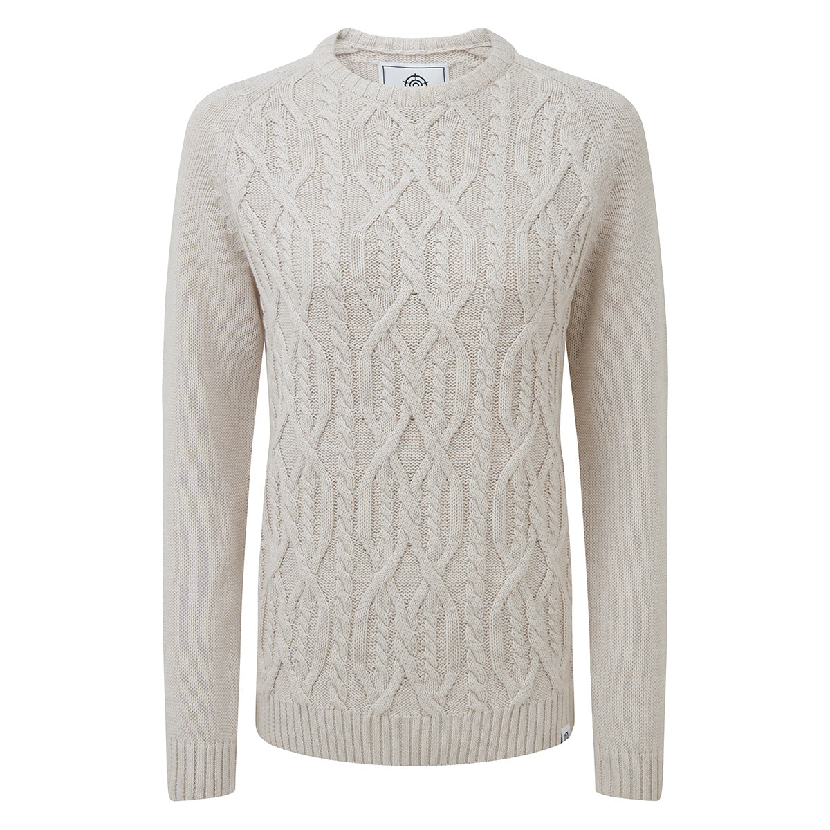 Polly Womens Cable Knit Jumper - Oatmeal Marl image 4