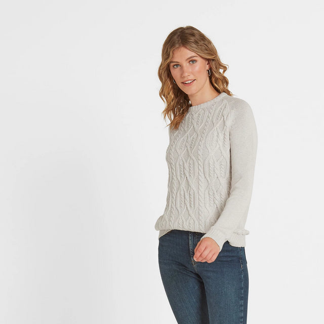 Polly Womens Cable Knit Jumper - Oatmeal Marl image 2