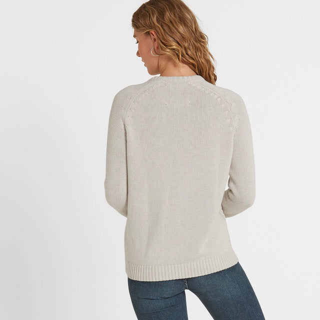 Polly Womens Cable Knit Jumper - Oatmeal Marl image 3