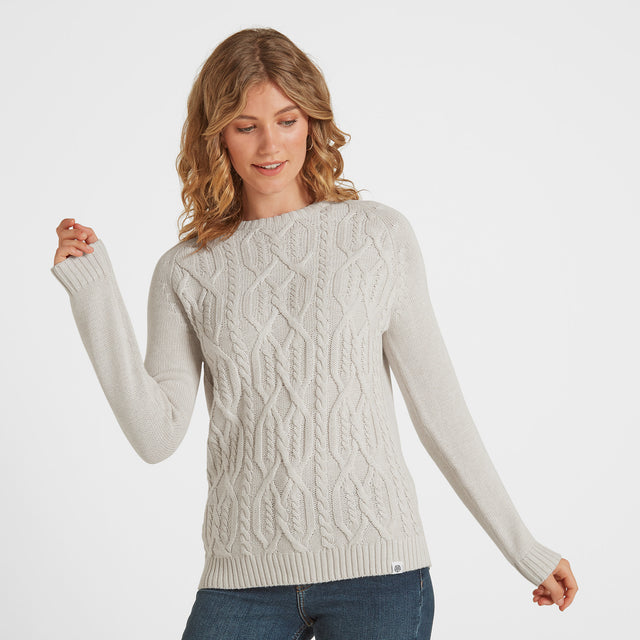 Polly Womens Cable Knit Jumper - Oatmeal Marl image 1
