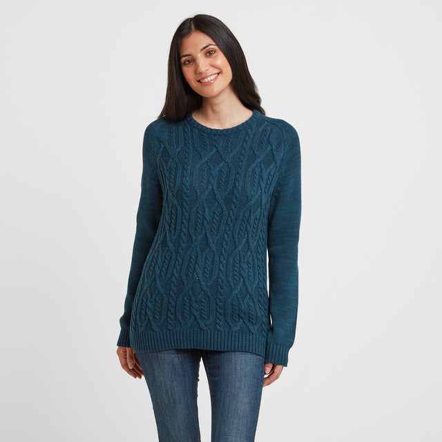 Polly Womens Cable Knit Jumper - Jewel Blue image 1
