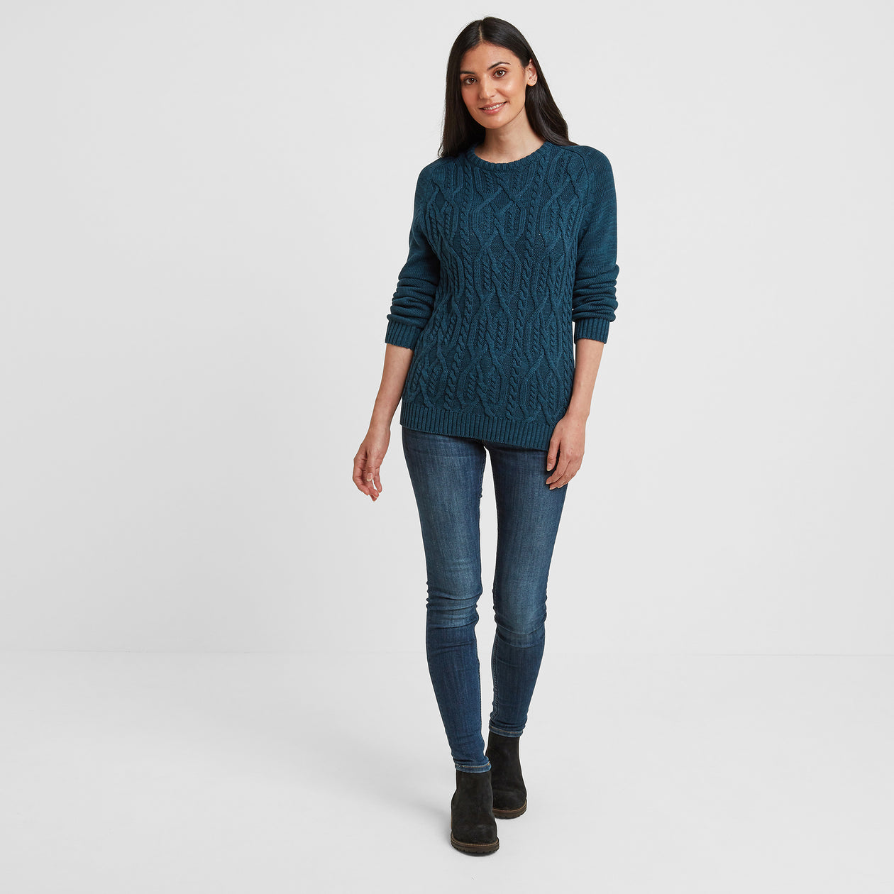 Polly Womens Cable Knit Jumper - Jewel Blue image 4