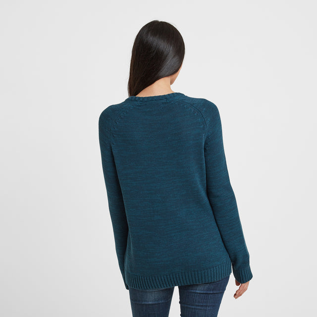 Polly Womens Cable Knit Jumper - Jewel Blue image 2