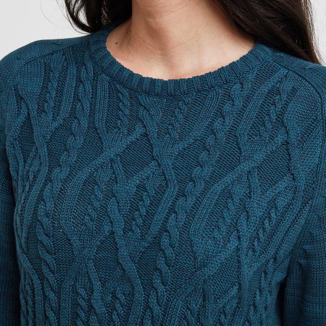 Polly Womens Cable Knit Jumper - Jewel Blue image 5