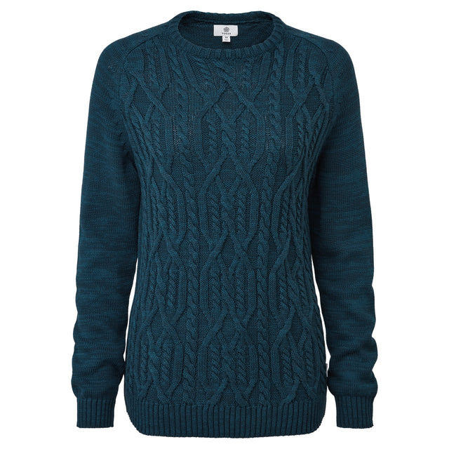 Polly Womens Cable Knit Jumper - Jewel Blue image 3