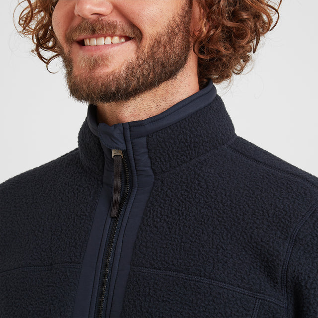 Pyrah Mens Sherpa Fleece Jacket - Dark Indigo image 3